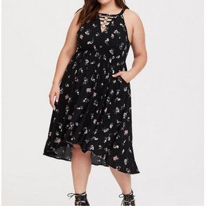 NWT Torrid Black Floral O-Ring Challis Midi Dress